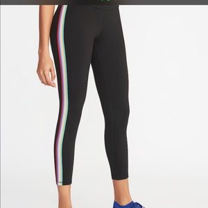 Old Navy High Rise Side Rainbow Striped Leggings!